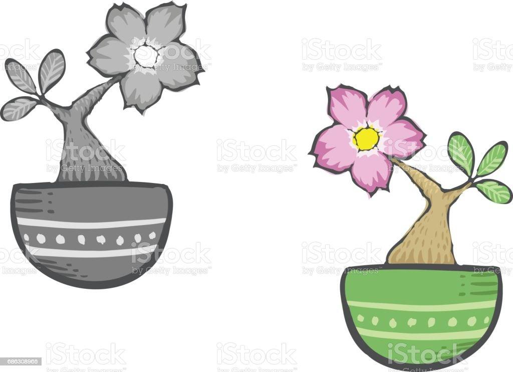 Fleur Rose Du Desert De Dessin Anime Mignon Dans Une Marmite