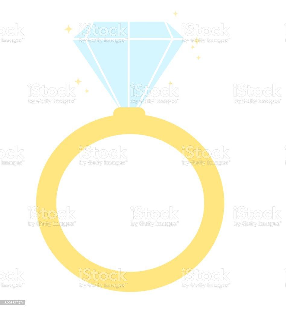 Ilustración de vector de anillo de compromiso de dibujos animados lindo diamante aislado en fondo blanco - ilustración de arte vectorial