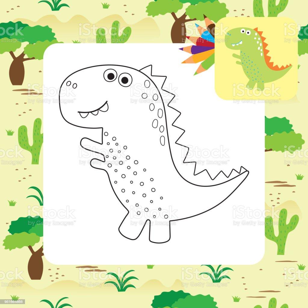 Ilustración de Página Para Colorear De Dibujos Animados Lindo Dino y ...