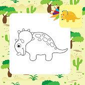 cute cartoon dino coloring page vector id