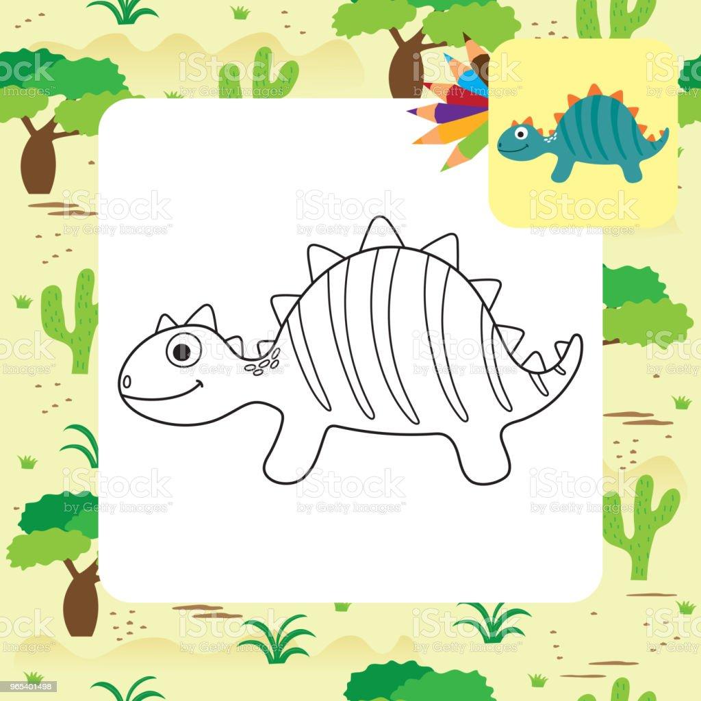 귀여운 만화 디노 색칠 페이지 - 로열티 프리 공룡 벡터 아트