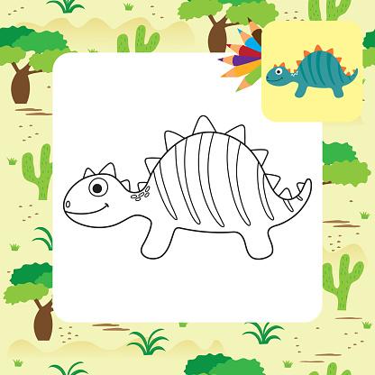 귀여운 만화 디노 색칠 페이지 공룡에 대한 스톡 벡터 아트 및 기타 이미지