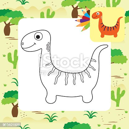 Cute Cartoon Dino Coloring Page Stock Vector Art & More Images of Animal 965401500