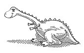 Hand-drawn vector drawing of a Cute Cartoon Dinosaur. Black-and-White sketch on a transparent background (.eps-file). Included files are EPS (v10) and Hi-Res JPG.