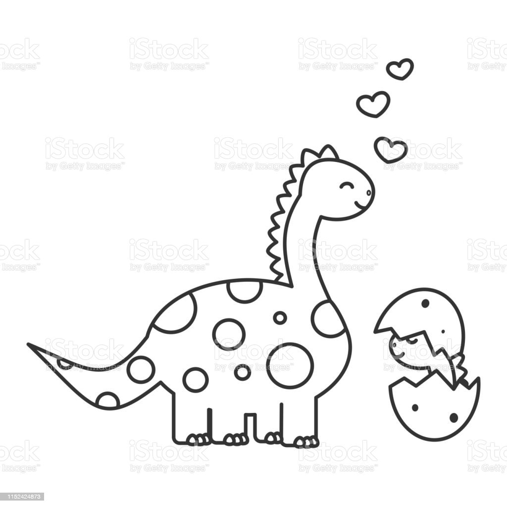 Vetores De Dinossauro Bonito Dos Desenhos Animados Com Bebe