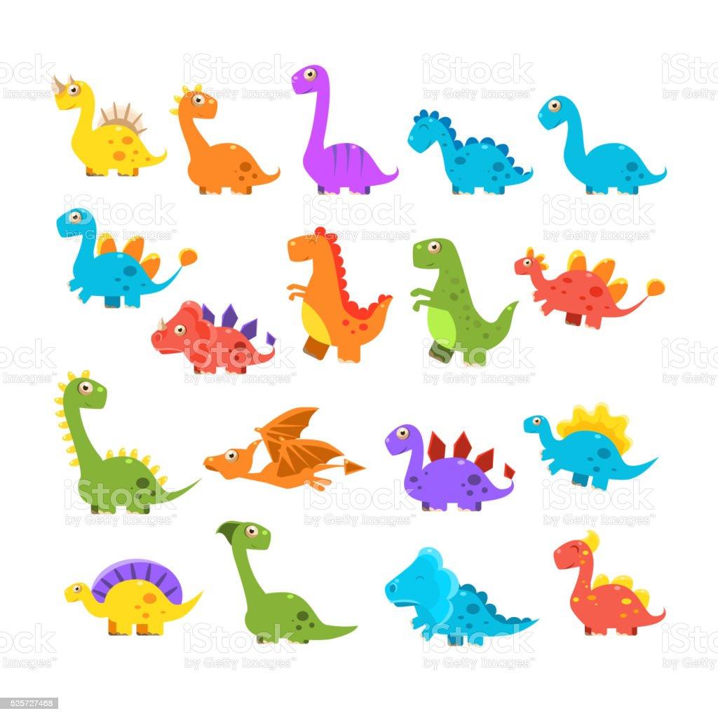 Bonito conjunto de desenhos animados de dinossauros - ilustração de arte em vetor