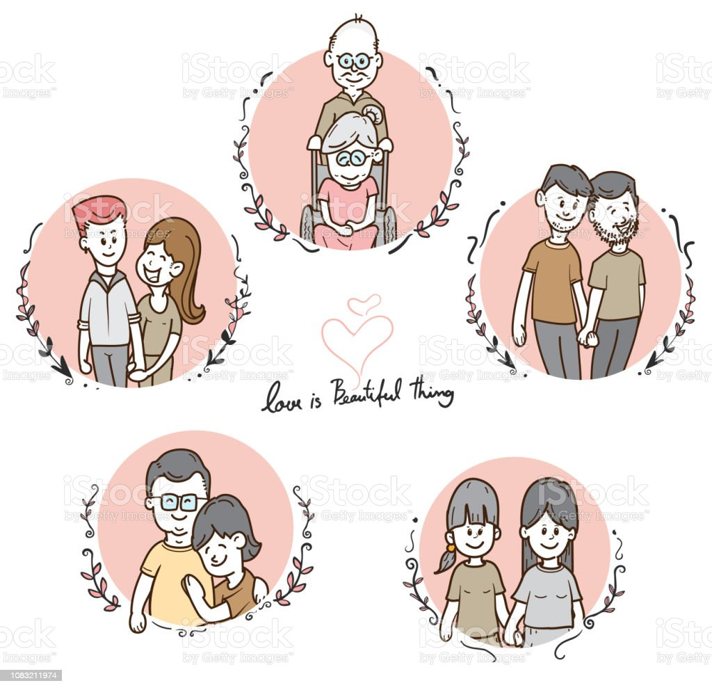 Vetores De Bonito Dos Desenhos Animados Diversos Casais Conjunto