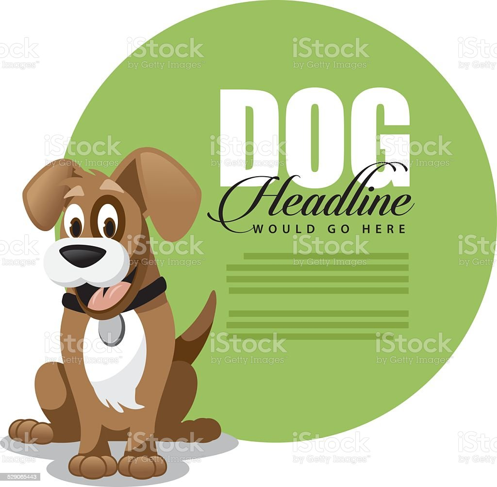 Cute cartoon dog ad background template vector art illustration