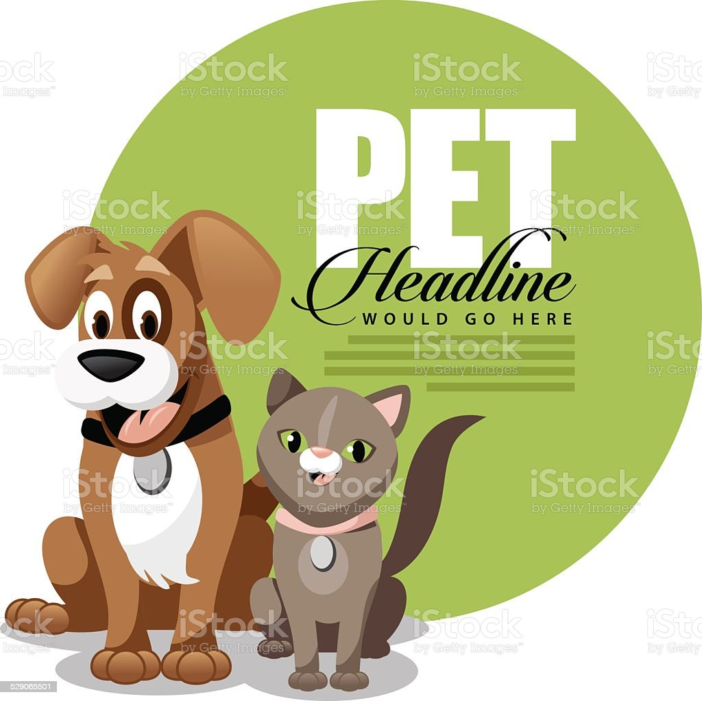 Cute cartoon dog and cat ad background template vector art illustration