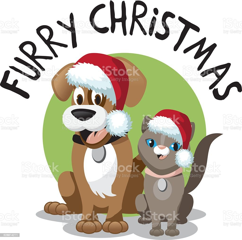 cute cartoon dog and cat furry christmas stock vector art