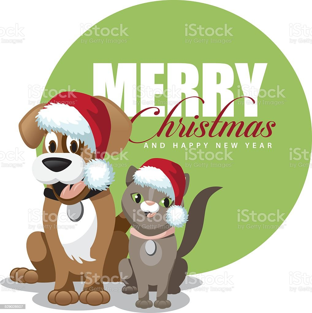 Cute Cartoon Dog And Cat Merry Christmas Stock Illustration Download Image Now Istock