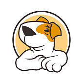 Vector round icon with cartoon dog character
