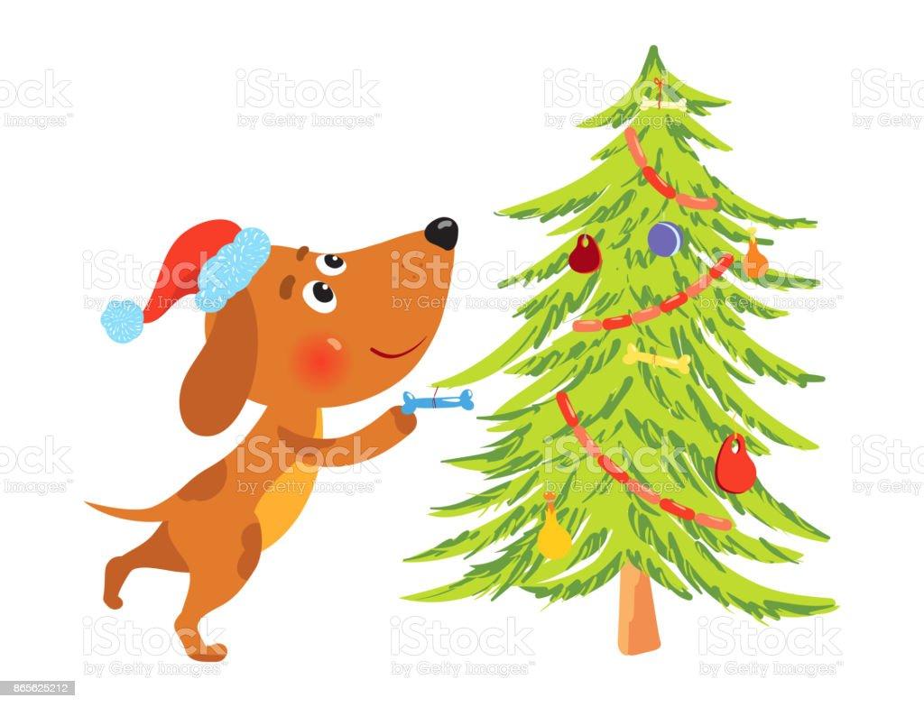 Ilustración De Perro De Dibujos Animados Lindo Decorar árbol