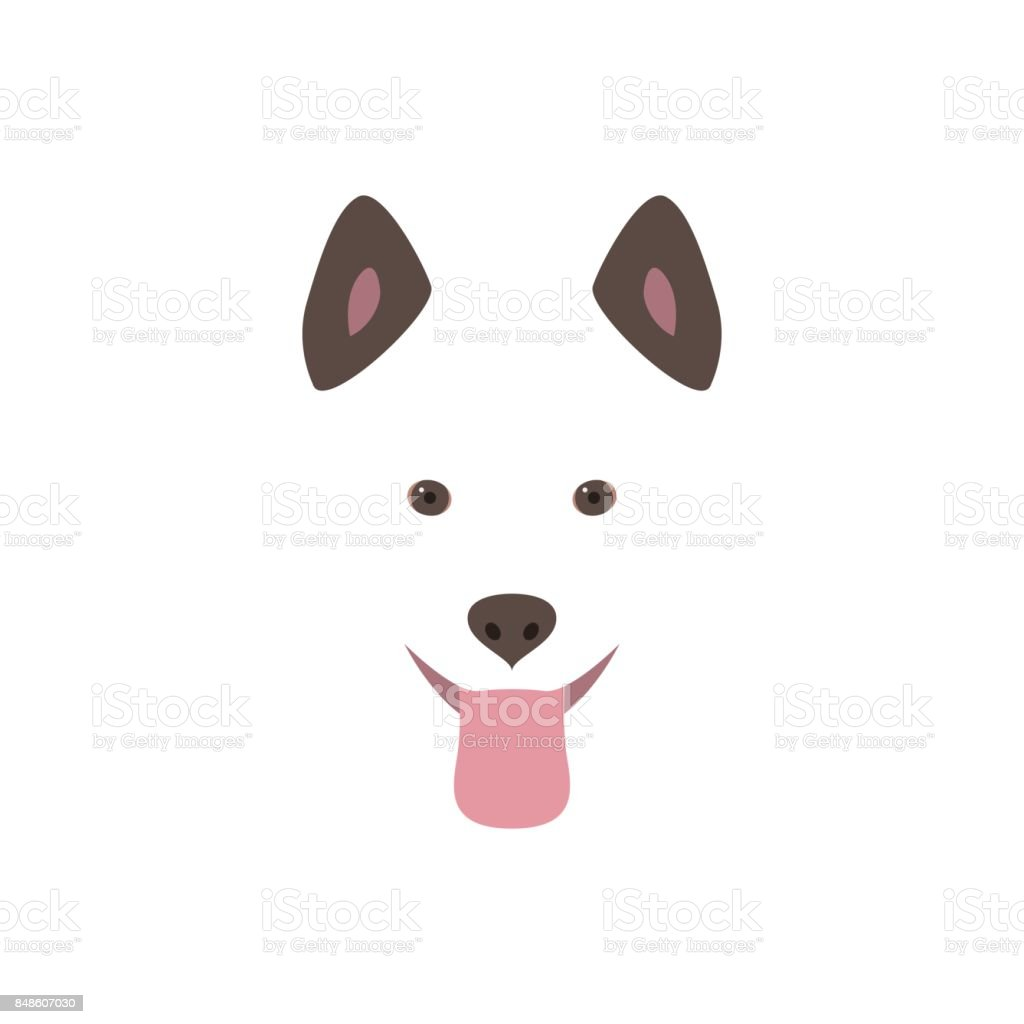 Cute Cartoon Dog Head Smiling And Sticking Out Tongue Flat