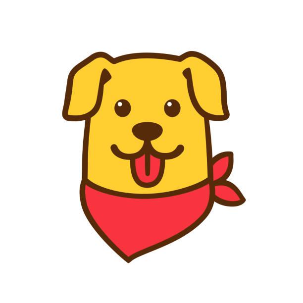 Cute cartoon dog head vector art illustration