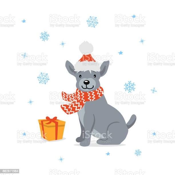 Cute cartoon dog in santa xmas hat sitting in front of a gift box vector id882871584?b=1&k=6&m=882871584&s=612x612&h=bafbtts71afdsh5g nu0lgtqssugef9zpusal58kghi=