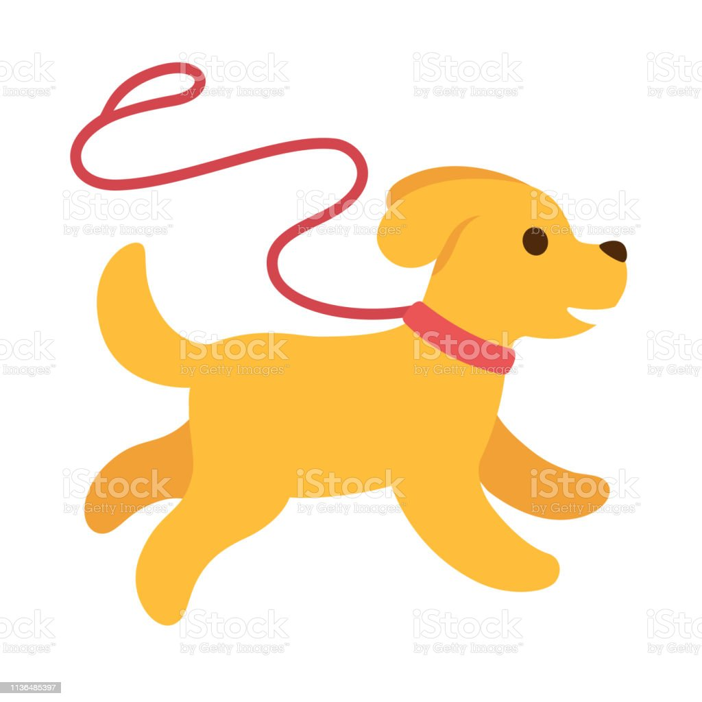 Cute Cartoon Dog Running With Leash Stock Illustration Download Image Now Istock