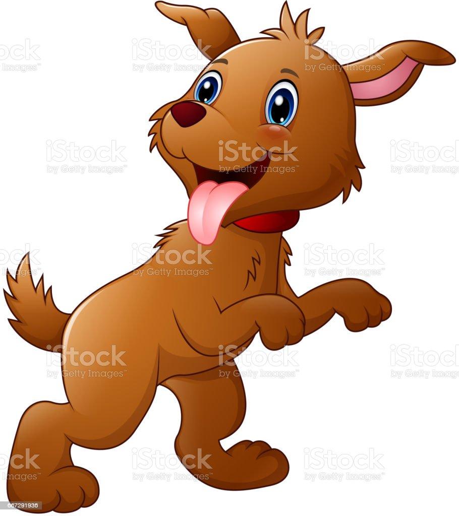 Cute cartoon dog sticking tongue vector art illustration