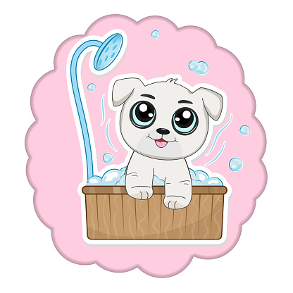 Cute cartoon dog taking a bath full of soap foam.