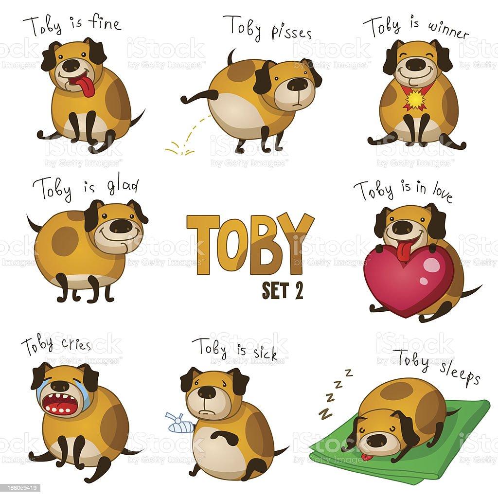 Niedliche Cartoon Hund Toby Set 2 Stock Vektor Art und mehr Bilder ...