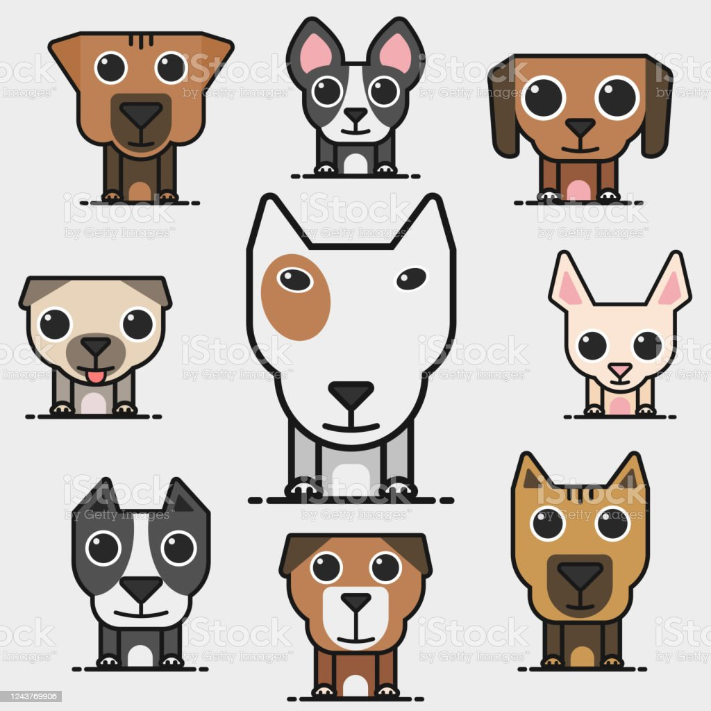 Cute Cartoon Dog Vector Icon Series Stock Illustration Download