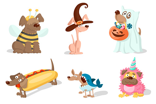 Cute cartoon dogs in carnival costumes