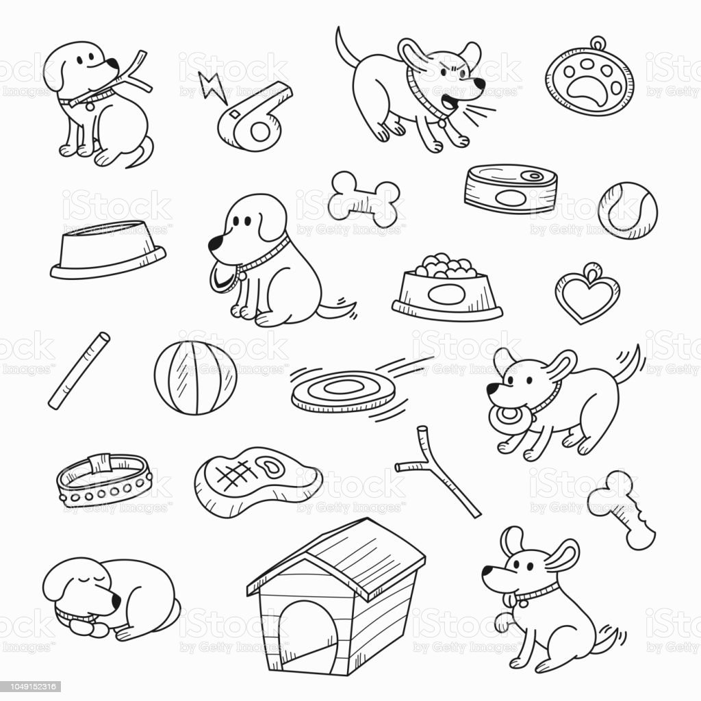 Cute Cartoon Dogs In Lovely Actions And Playing With Toys Hand Drawn ...