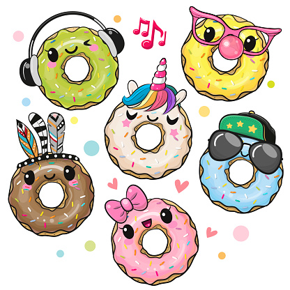 Cute Cartoon Donuts isolated on a white background