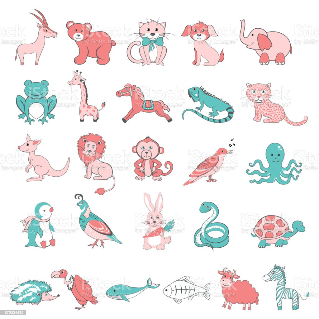 Cute cartoon doodle animals vector illustration isolated on backdrop, character design funny cat, antelope, frog, octopus, bear, dog, lion and etc, for education Zoo alphabet from A to Z, ABC poster vector art illustration