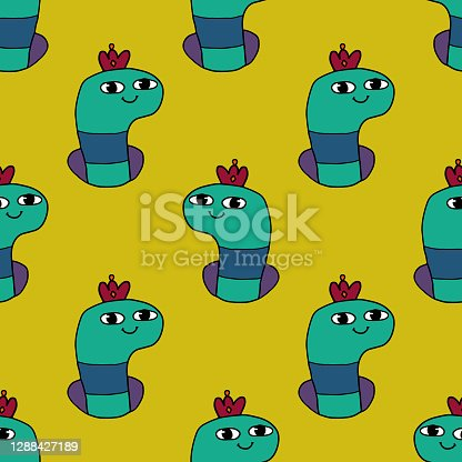 istock Cute cartoon doodle happy Worm with crown in the hole seamless pattern. 1288427189