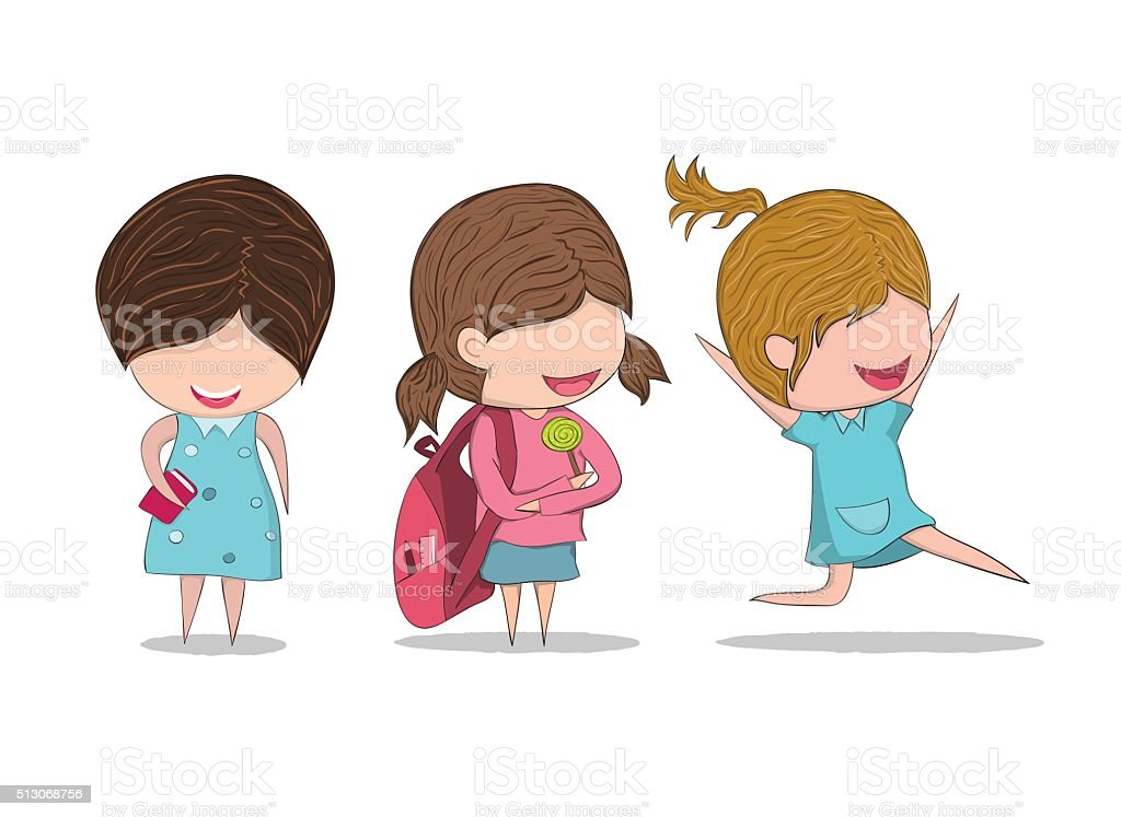 Pequea Nia De Dibujos Animados Estudio Klipart T Girl