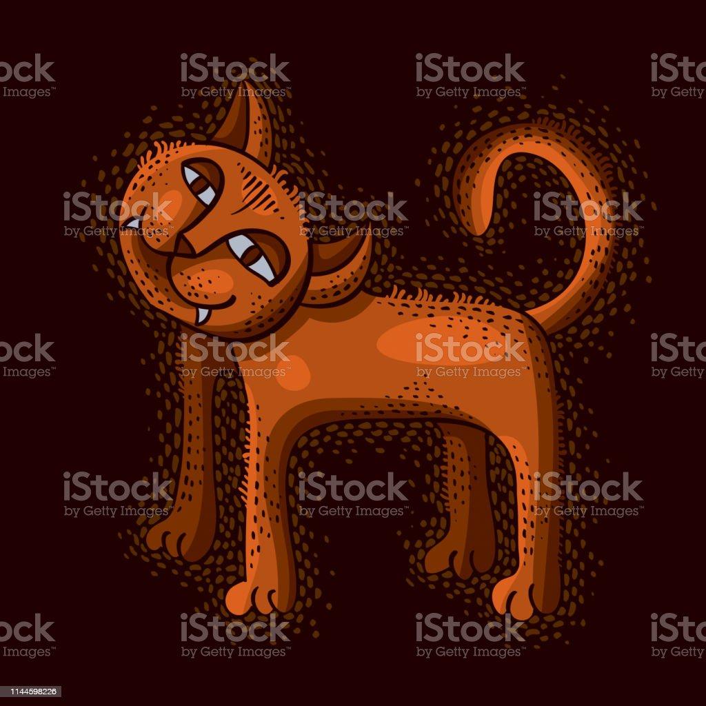 Cute cartoon doodle red cat vector illustration, nice pet standing.
