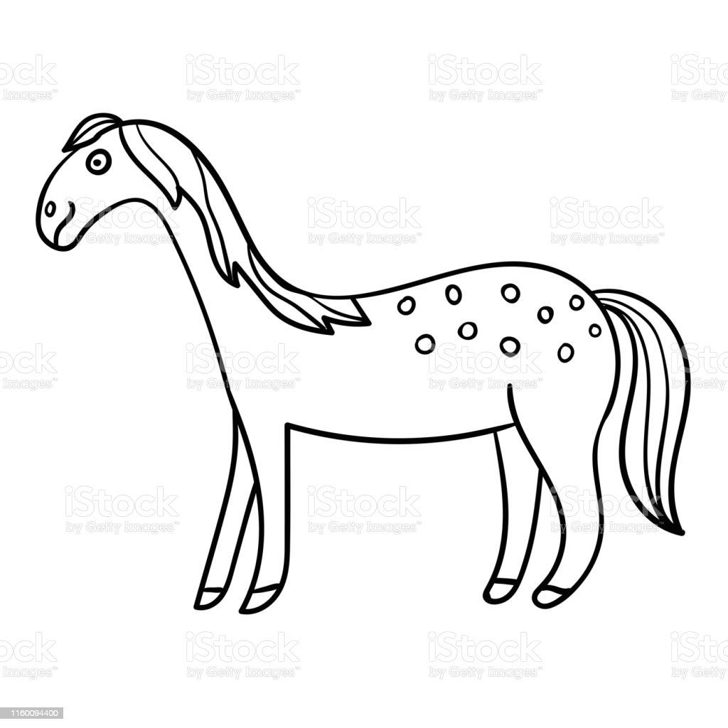 Cute Cartoon Doodle Smiling Horse In Profile Isolated On White Background Vector Illustration Stock Illustration Download Image Now Istock