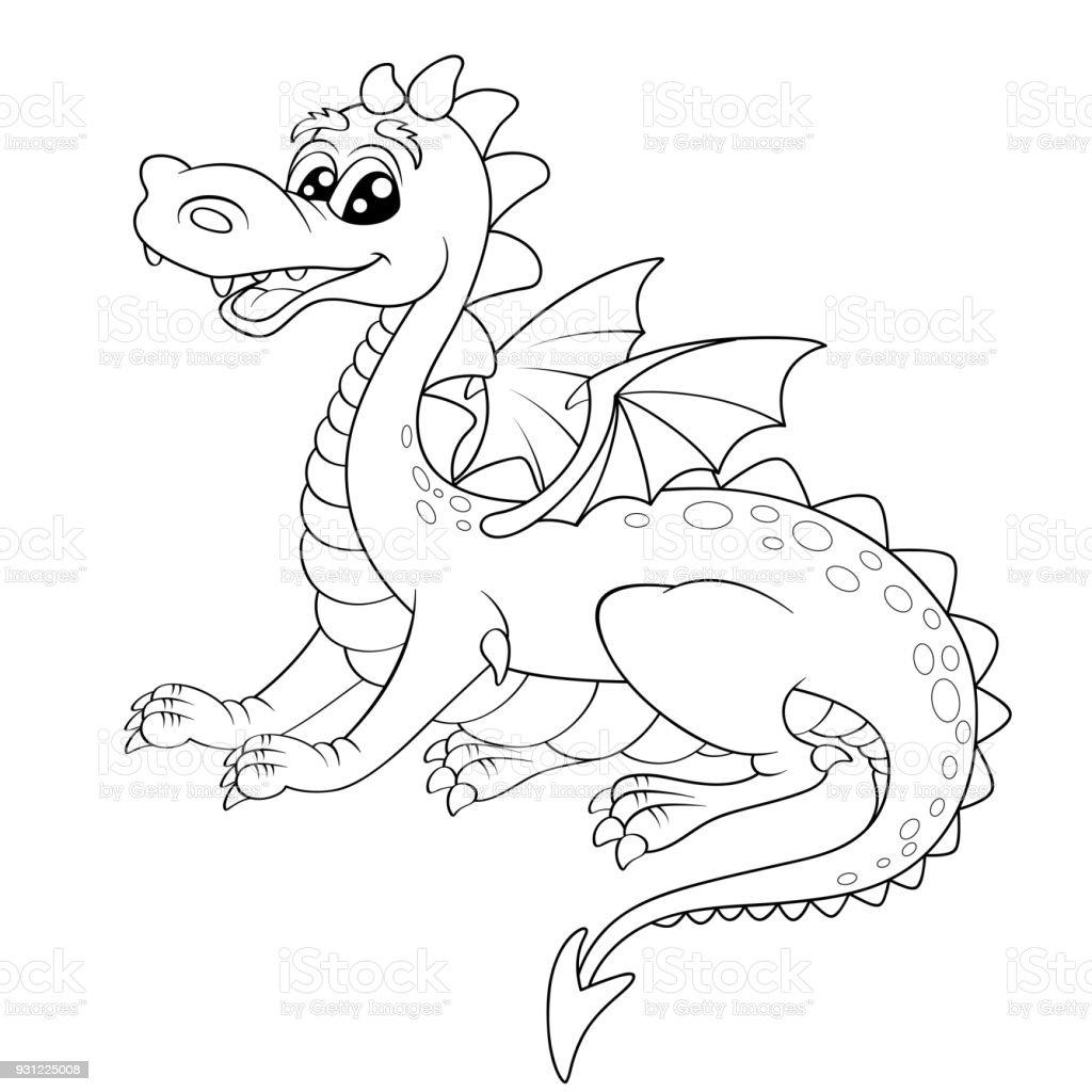 Dragon Dessin Animé Mignon Illustration Vectorielle Noir Et Blanc