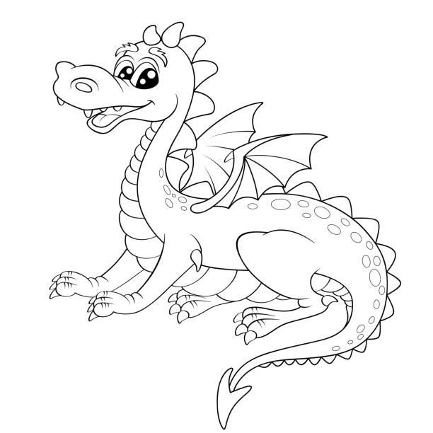 Vectores de Niños Para Colorear Página De Dragón y Illustraciones ...