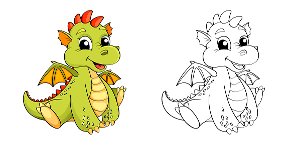 Color and black/white vector illustration for coloring book