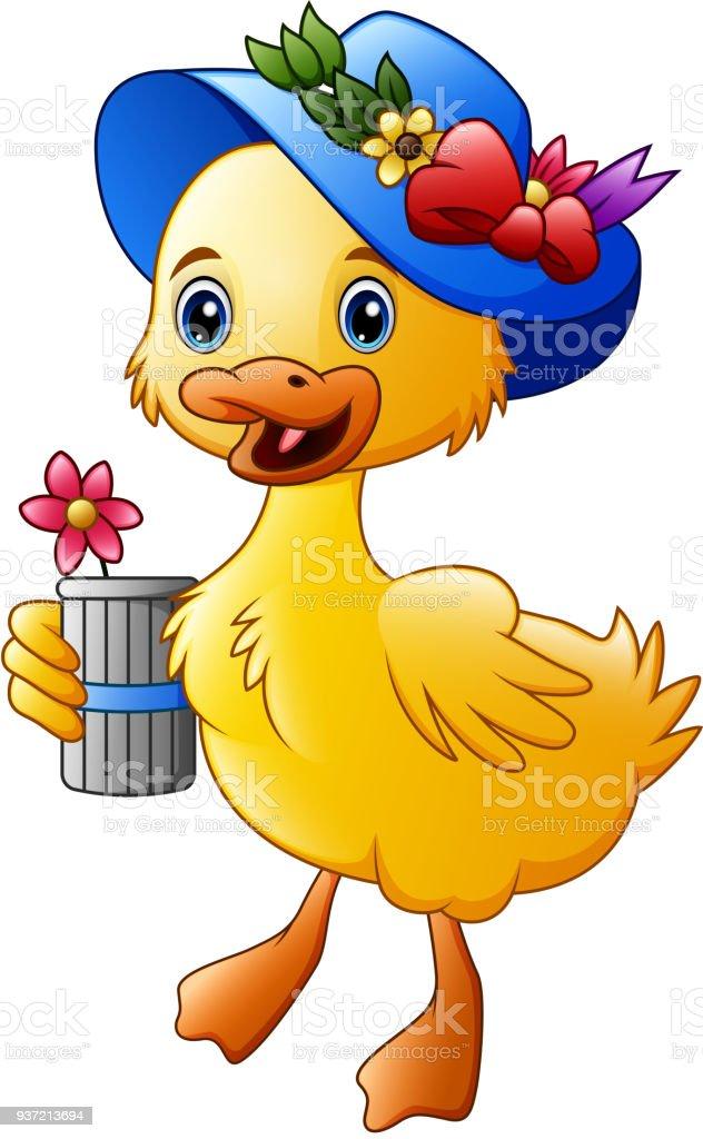 Cute cartoon duck with blue hat vector art illustration