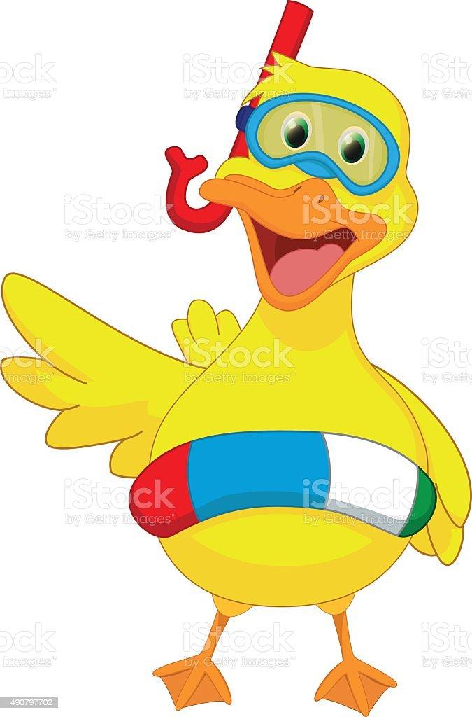 cute cartoon duck with buoys vector art illustration