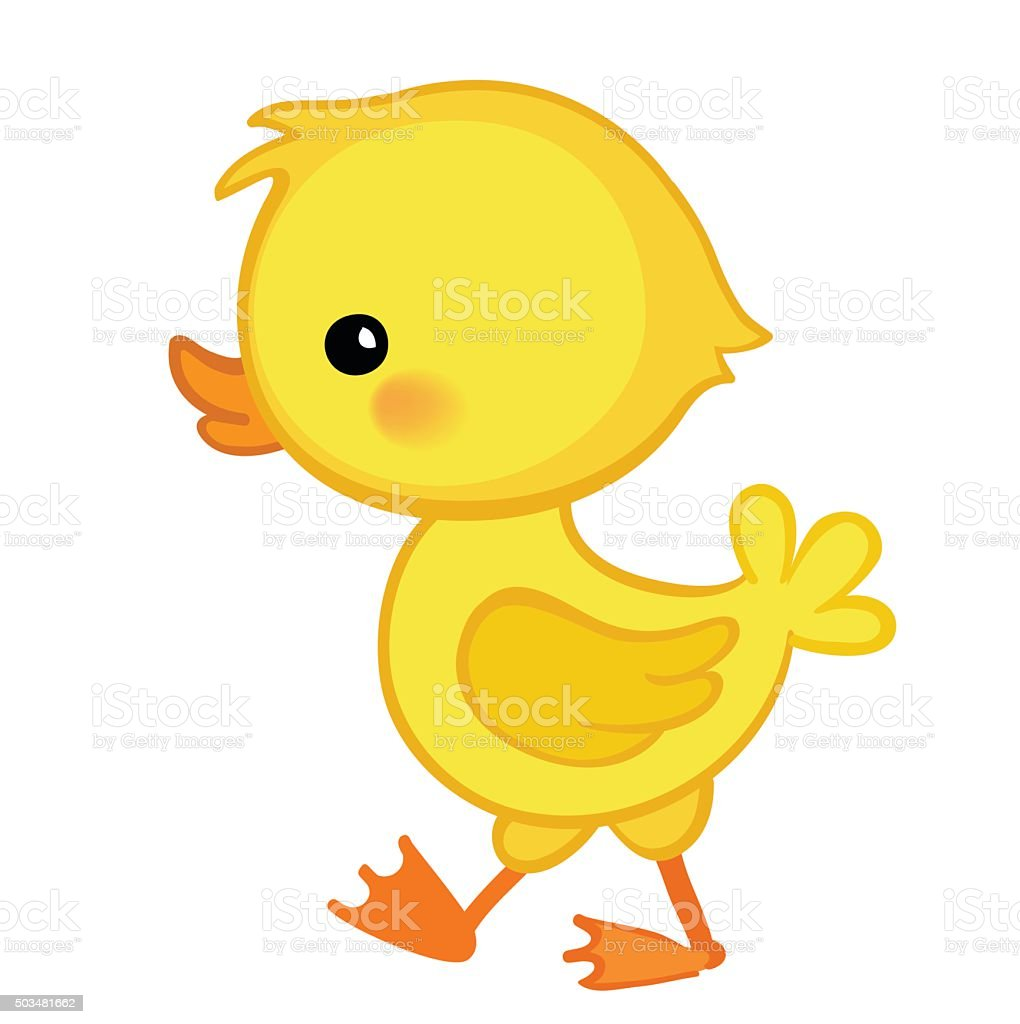 Cute cartoon duckling is depicted in profile.Vector illustration. vector art illustration