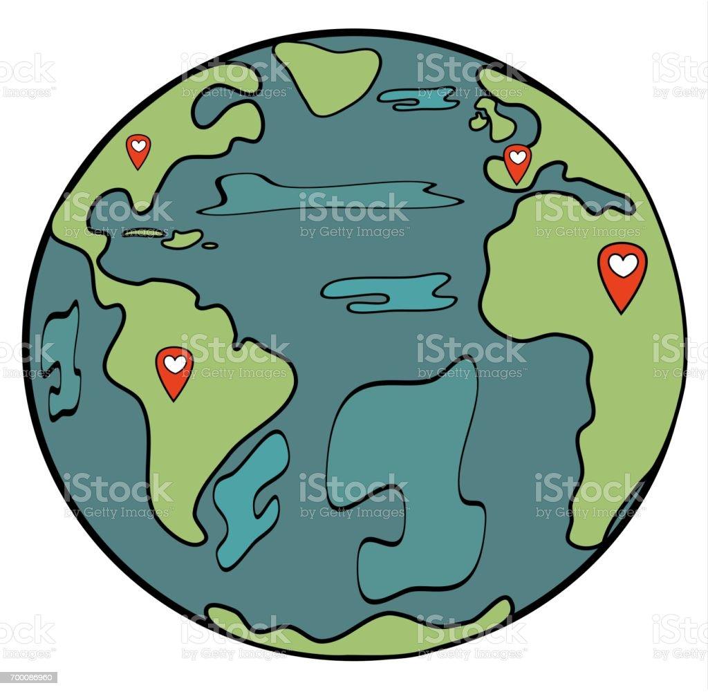 Ilustración De Planeta Tierra De Dibujos Animados Lindo Con La