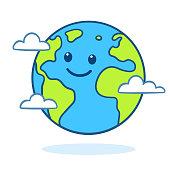 istock Cute cartoon Earth 1050787688