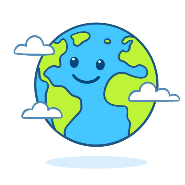 stockillustraties, clipart, cartoons en iconen met schattige cartoon aarde - planeet aarde