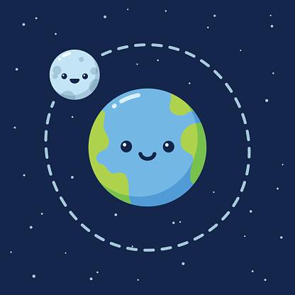 Cute cartoon Earth with Moon