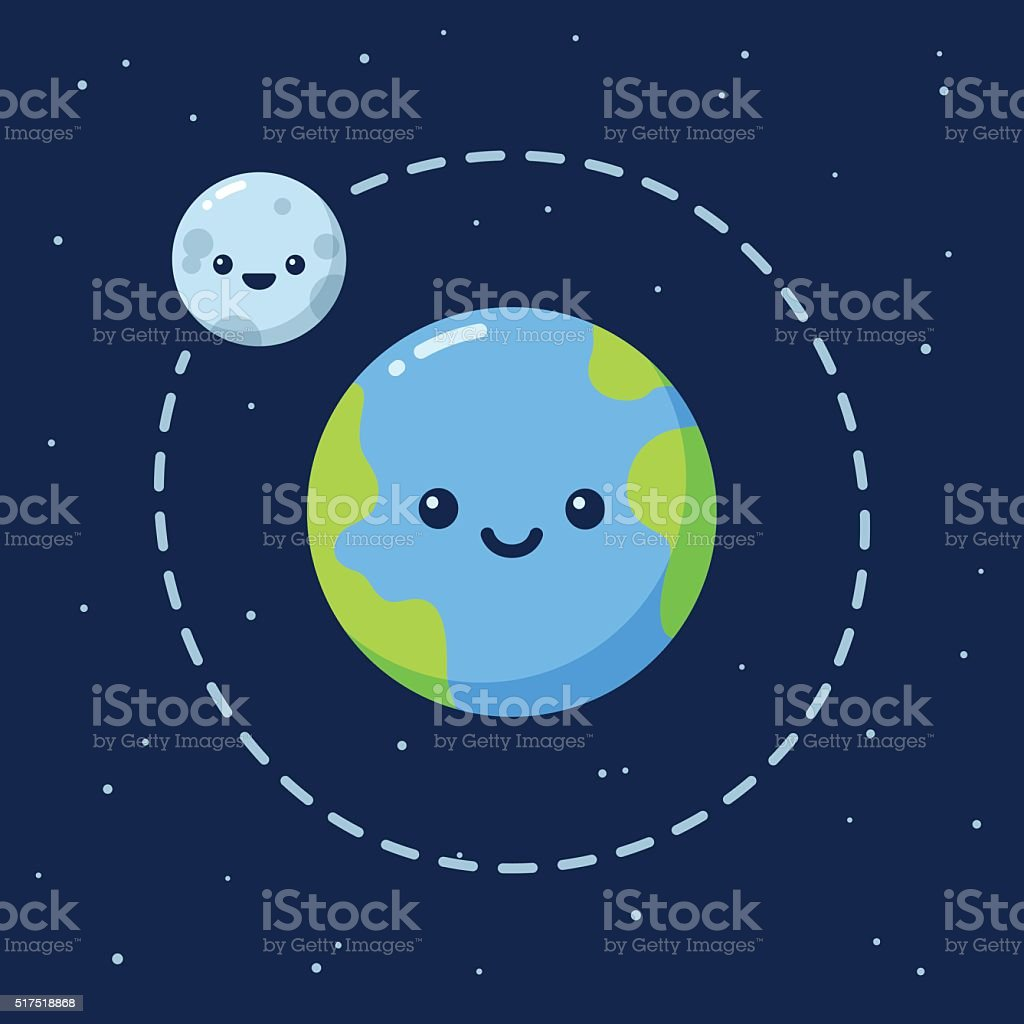 Cute cartoon Earth with Moon vector art illustration