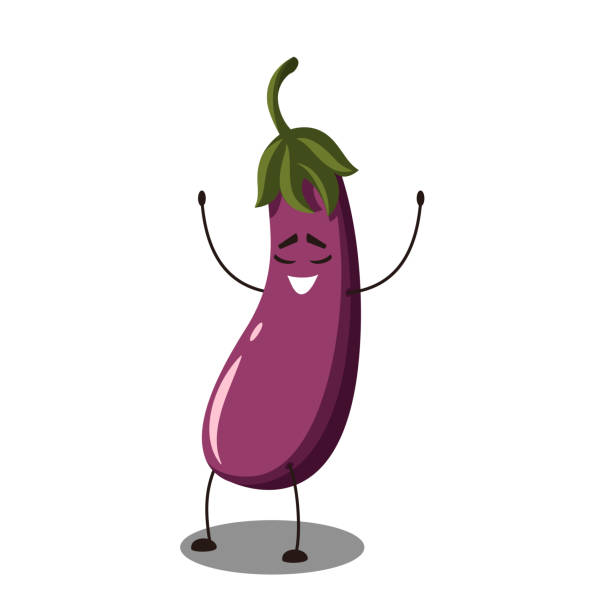 illustrazioni stock, clip art, cartoni animati e icone di tendenza di cute cartoon eggplant with happy emotion. - melanzane