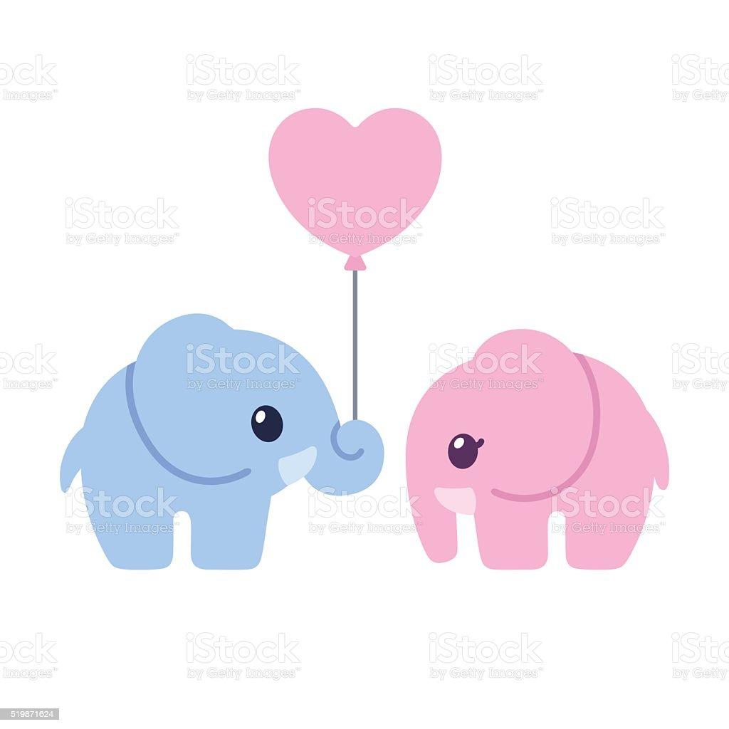 かわいい漫画の象のカップル - アイコンのベクターアート素材や画像を