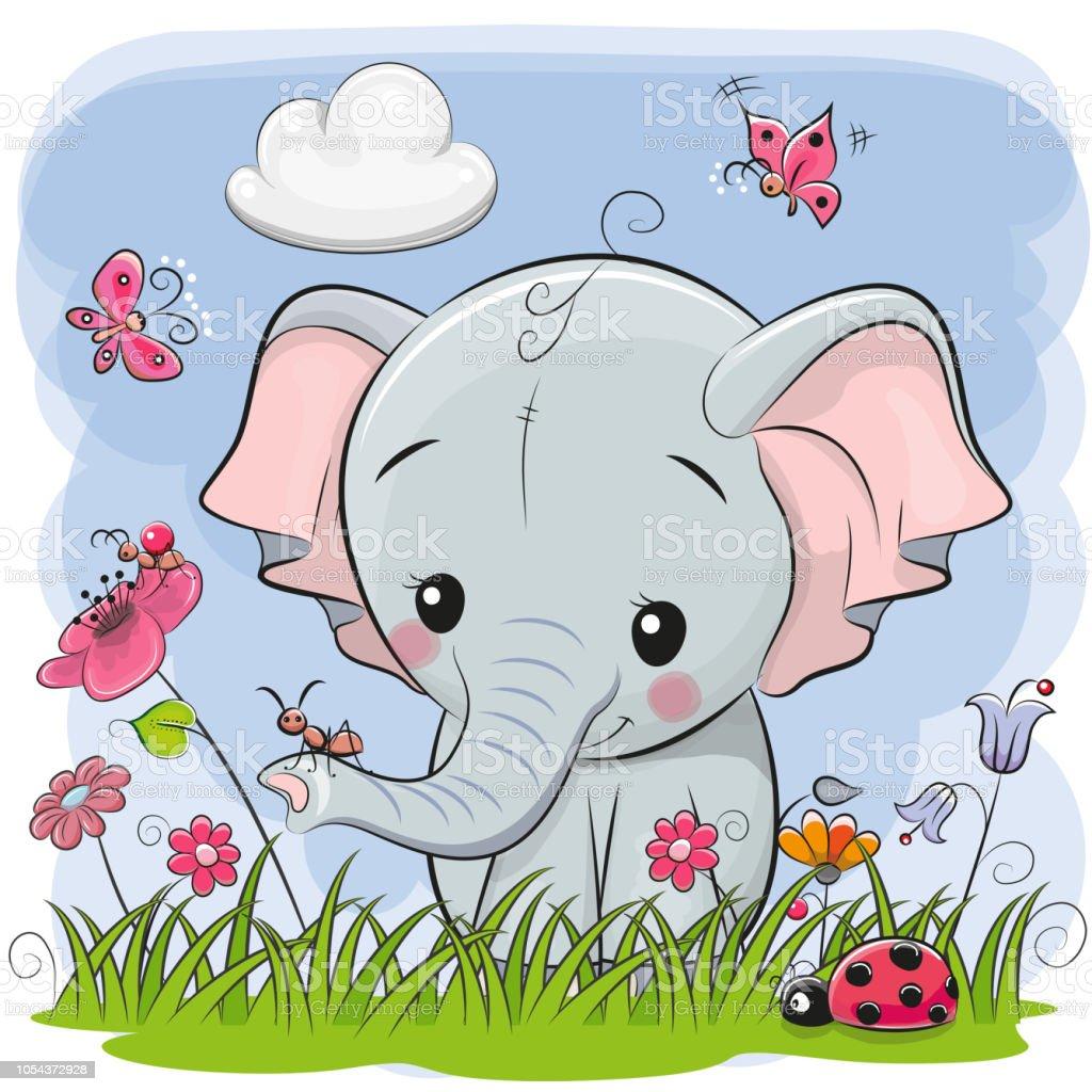 Niedlichen Cartoon Elefanten auf einer Wiese – Vektorgrafik