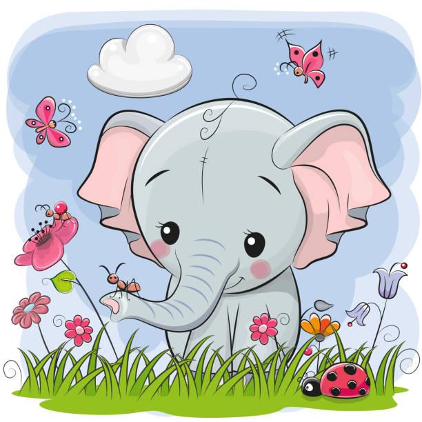niedlichen cartoon elefanten auf einer wiese - elefantenkunst stock-grafiken, -clipart, -cartoons und -symbole