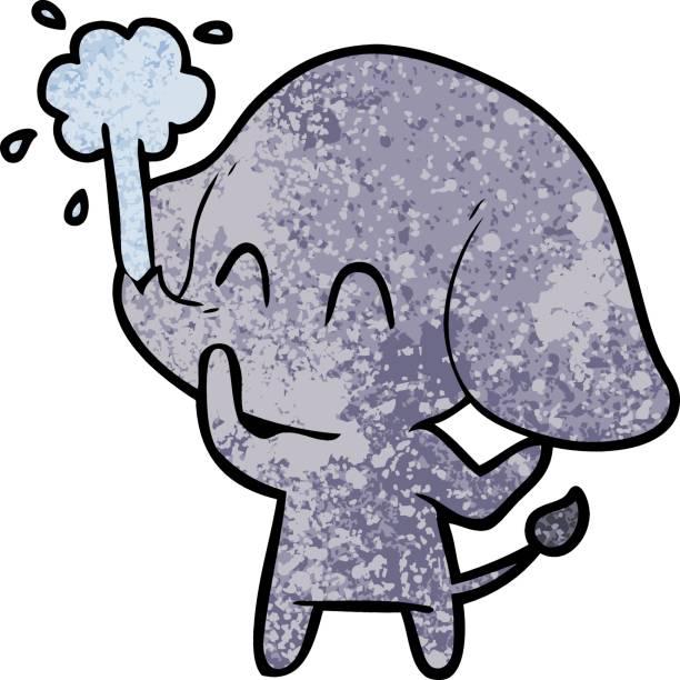 Royalty Free Elephant Spraying Water Clip Art, Vector ...