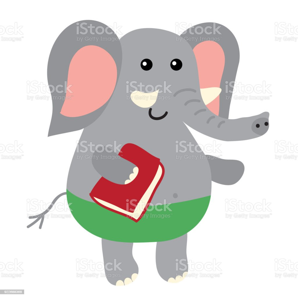 Cute cartoon elephant vector art illustration